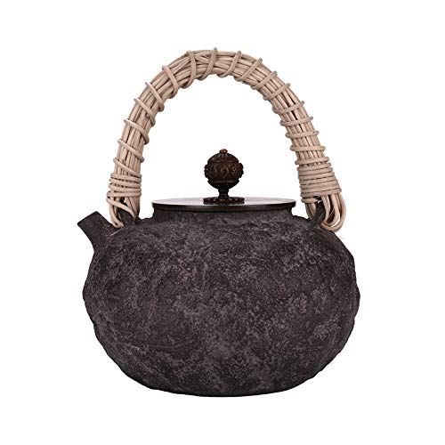 MNSSRN Japanese Style Handmade Iron Kettle, Uncoated Healthy Cast Iron Kettle, Retro Kettle, Multifunctional Hip Flask
