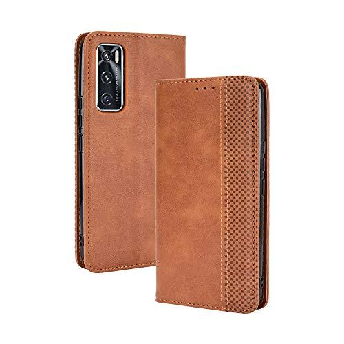 GOGME Leather Folio Cover per Vivo Y70 Cover, PU + TPU Leather Wallet Case, Premium Filp Cover Custodia in Pelle Portafoglio con Funzione Stand, Marrone