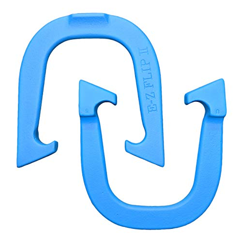 E-Z Flip II Professional Pitching Horseshoes- Made in The USA (Blue- Single Pair (2 Shoes))