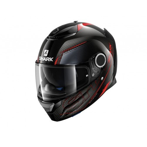 Shark 2273_24856 Cascos de Moto Spartan Carbon Silicium DRA-XL, Hombre, Negro/Rojo