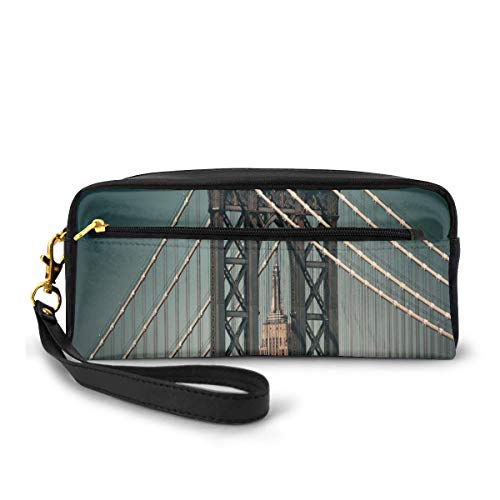 Pencil Case Pen Bag Pouch Stationary,Cityscape Landscape View with Bridge Empire State Building and Skyscrapes Picture Print,Small Makeup Bag Coin Purse