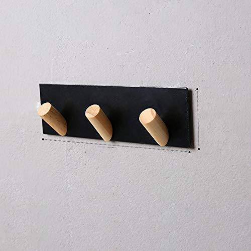 Hierro forjado Oro de madera blanco Pintura negra 3 ganchos 5 ganchos moda simple capa montada en pared gancho gancho toalla-C2 simple y elegante combina con el estilo moderno
