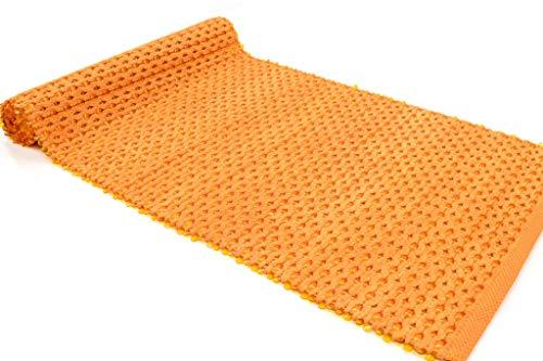 Malibu Tappeto Cotone PVC Lavabile Bagno e Cucina 60x120 60x200 70x140 Antiscivolo stuoia Intrecciata con Inserto in PVC Vari Colori Lavabile in Lavatrice 30° (Orange, 60x200cm)