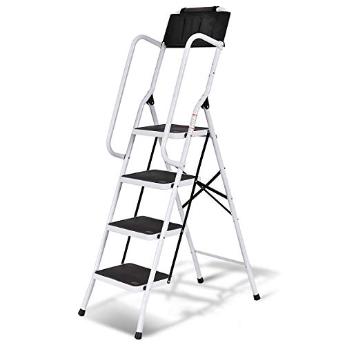 Giantex 4 Step Ladder Folding Stepladder Step Stool w/Non-Slip Pedal,Handrails and Tool Pouch Caddy 330LB Capacity for Home and Work Use