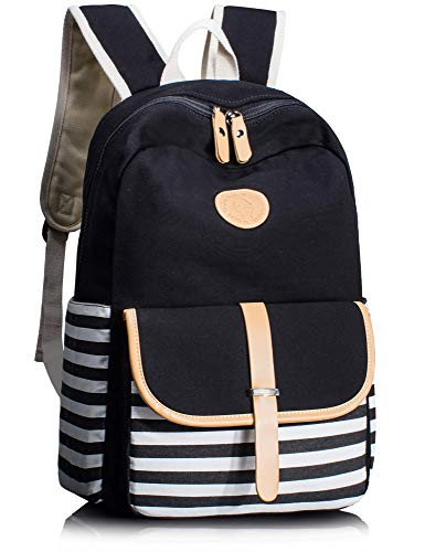 Leaper School Backpack for Kids Daypack Travel Bag with Side Pockets Black