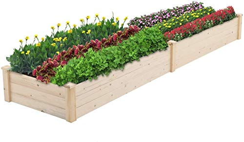 SOLAURA Outdoor 8 ft Wooden Raised Garden Bed Elevated Planter Box Kit Grow Vegetable Flower Herb Gardening, Naturally