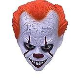 WAZX Máscara de Halloween Máscara roja Máscara de Encaje para el Cabello Pennywise Máscara de Terror Máscara de Navidad Dibujos Animados Cosplay Película Maquillaje Beige