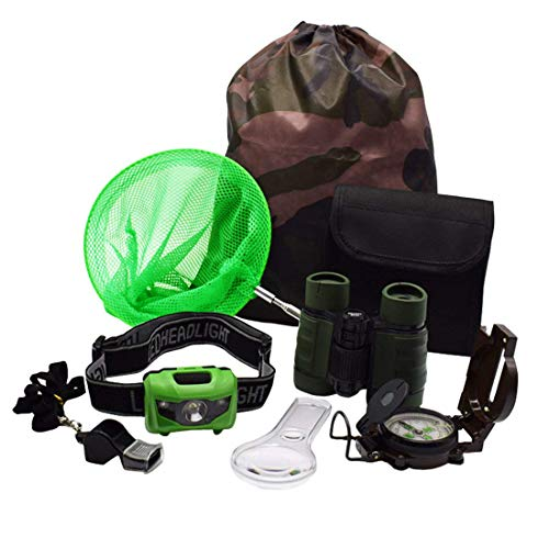 Kids Outdoor Adventure Set :Educational Children's Toys Binoculars, LED Headlamp Flashlight, Compass, Magnifying Glass Whistle Butterfly Net & Backpack(Camo Color) for Boys