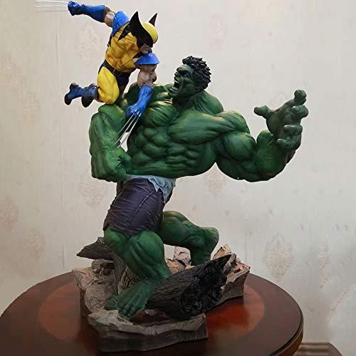 LLly Figura Anime Wolverine Hulk Modello Oversize Statue di Personaggi, Wolverine Vs Hulk PVC Figure Anime Giocattolo, può Contenere 36 cm