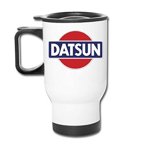 Datsun Emblema de coche con logotipo de café/té/coche tazas vaso vaso de oficina aislamiento personal de viaje coche a prueba de derrames tapa tapa tapa blanca fácil de sostener mango 450 ml