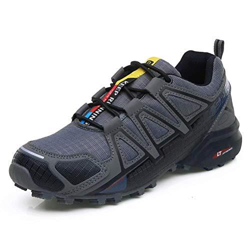 Zapatillas Trekking Hombre Zapatillas Senderismo Transpirable Antideslizante Al Aire Libre Zapatillas de Deporte Gris 44