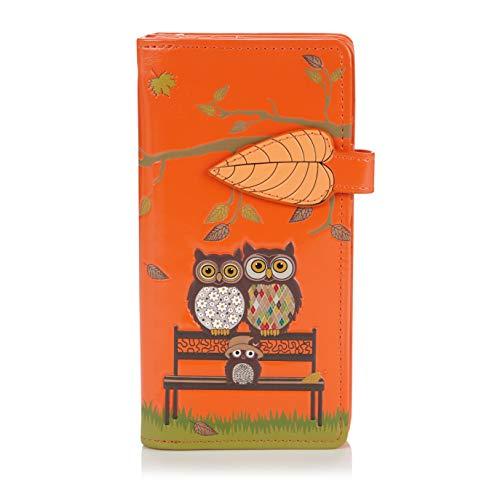 Shagwear ® Portemonnaie Geldbeutel Damen Geldbörse Mädchen | Bifold Mehrfarbig Portmonee Designs: (Parkbank Orange/The Park Bench)