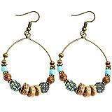 Pendientes Bohemian Big Circle Hook Mujeres Moda Faux Turquesa Turquesa Earrings