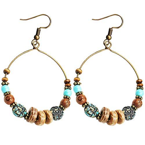 Bohemian Big Circle Hook Earrings Mujeres Fashion Ethnic Faux Turquoise Earrings