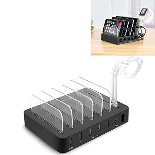 Estación de carga Cargador inteligente, para iPad, tabletas, iPhone, Galaxy, Huawei, Xiaomi, LG, HTC y otros teléfonos inteligentes, convenientes de 6 puertos Multifunción 6 USB USB desmontable, dispo