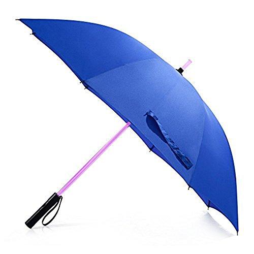 LED Regenschirm im Laserschwert-Design Schwarz Star Wars Schirm mit 7 Farben und Integrierter Taschenlampe (HellBlau.)
