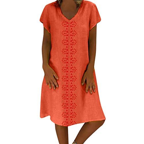 TWIFER Damen TWIFER Vintage Soommerkleid Damen Sommer Kleid Stil V Ausschnitt Gedruckt Baumwolle Und Leinen Lässig Plus Size Kleid
