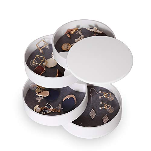 CONBOLA Jewelry Organizer Small Jewelry Storage Box Earring Holder for Women 4Layer Rotating Travel Jewelry Tray Case with Lid for Bracelets Rings Bracelets White
