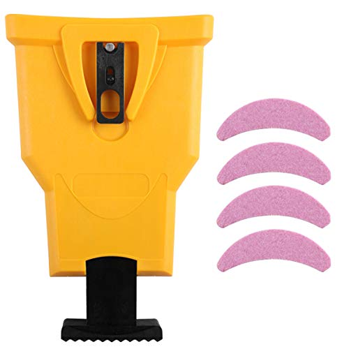AULASISY Chainsaw Sharpener Universal Chain Saw Blade Teeth Sharpener Fast Sharpening Stone Grinder Tools Bar Mounted with Total 5 Whetston, Fit 14 16 18 20 Inches Two Holes Chain Saw Bar (Yellow)