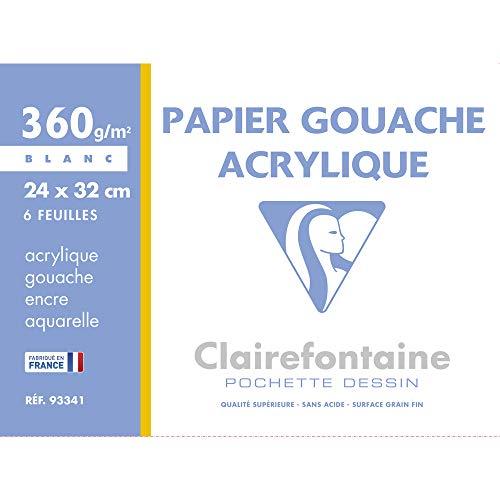Clairefontaine 93341C Mappe Acrylpapier (ideal für Nasstechniken und Gouache, 360 g, 24 x 32 cm, 6 Bögen) weiß