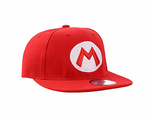 Gorra Snapback de Pico Plano Mario Rojo (Mario Snapback Cap)