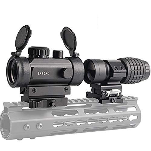 Luger Tactical 1x40mm Red Green Dot Sight + 3X Magnifier Scope with Quick Detach Flip to Side + QD 5 Slots Rail Riser Combo Kit