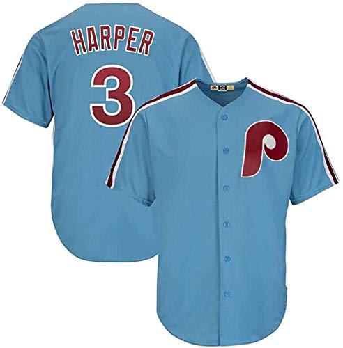 ZAHOYAN Camiseta para hombre, MLB con Philadelphia Phillies # 3, logotipo de Harper Major League Baseball Team ropa deportiva de verano de manga corta, unisex, A-M