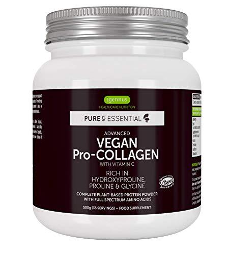 Pure & Essential Vegan Collagen Peptide Protein Powder with Glycine, Proline & Hydroxyproline & Vitamin C, Complete Collagen Boosting Formula, 35 Servings
