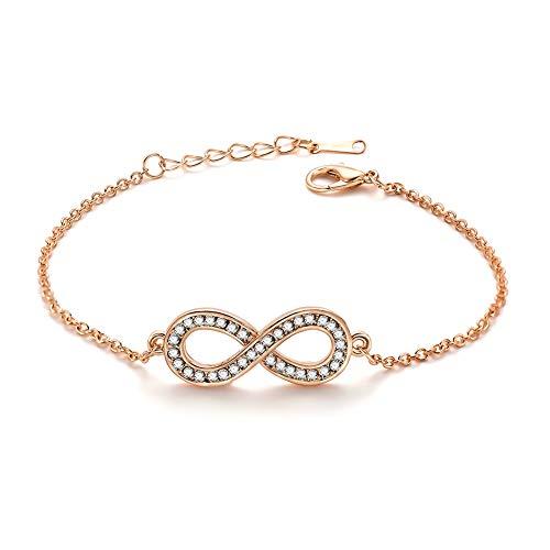 weimay 1pieza Fácil pulsera para mujer estilo 8palabra cristal circón joyas ( Oro )