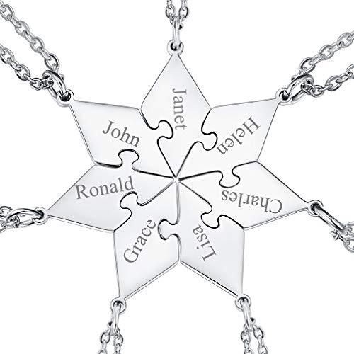 FaithHeart Silber Puzzle Kette für 7 Puzzle Kette für 7 personalisierte Namenskette mit Geschenkebox für Damen und Herren