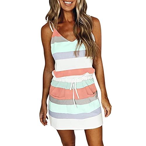 Werstand Damklänning med slinga, V-ringad randig justerbart bälte svängrem klänning, sommarklänning avslappnad V-ringad ärmlös randig sling klänning topp rea