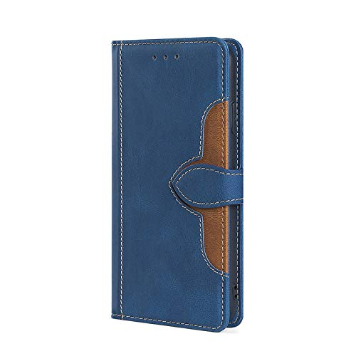 KERUN Funda para Motorola Moto E7 Plus Carcasa, [Ranuras para Tarjetas] [Soporte Plegable] Magnético Premium PU Cuero Flip Folio Carcasa para Motorola Moto E7 Plus.Azul