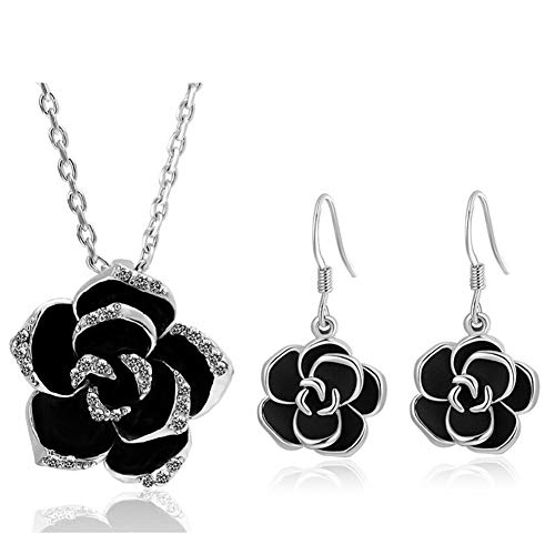 AILUOR Black Rose Camellia Flower Jewelry Sets, Fashion Wedding Bridal Crystal Flower Pendant Statement Necklace Hook Earrings Set for Women Girls (Silver)