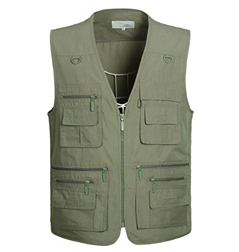 Huaishu Mannen Multi-pocket middelbare leeftijd Casual Vest Outdoor Jas Ademende Taillejas