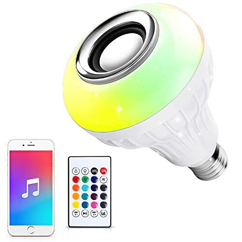 Ustellar RGB LED Lampadina con altoparlante, Bluetooth senza fili musica lampadina, E27cambia colore con telecomando per feste, casa, camera da letto, bar