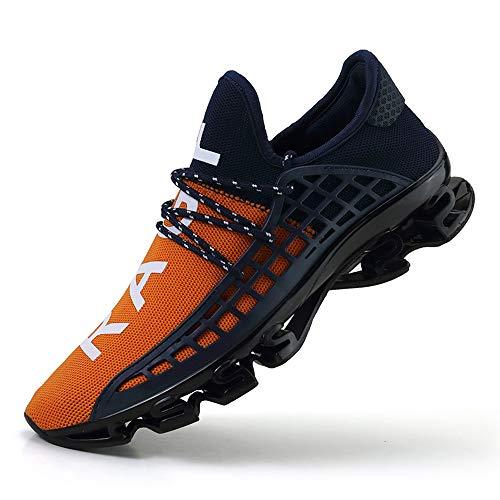 CAGAYA Sportschuhe Herren Laufschuhe Sneaker Mesh Atmungsaktive Sport Damen Turnschuhe Freizeitschuhe Schuhe größe 36-48 (38 EU, Orange)