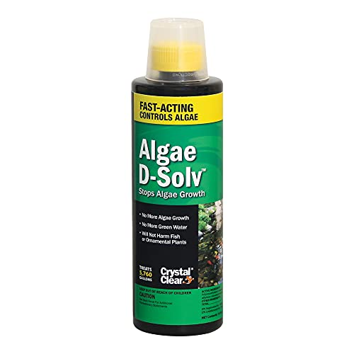 Crystal Clear Algae D-Solv – EPA Registered Algaecide – Safe for Fish and Plants: 16 Ounces Treats 5,760 Gallons