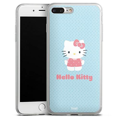 DeinDesign Slim Hülle extra dünn kompatibel mit Apple iPhone 8 Plus Silikon Handyhülle transparent Hülle Hello Kitty Katze Offizielles Lizenzprodukt