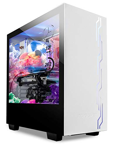"""iBUYPOWER Snowblind S 19"""" Translucent Customizable Side-Panel LCD Display 1280 x 1024 Resolution Mid-Tower Desktop Computer Gaming Case 3 x 120mm Fans SECC Steel, White"""