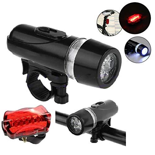 Yissma 2 stuks 5LED fietsverlichtingsset op batterijen fiets koplamp en achterlicht kit met bevestigingsstoel