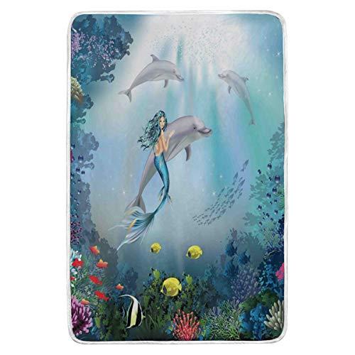 Manta de felpa azul con diseño de sirena, supersuave, cálida, con delfines del mundo subacuático, manta de forro polar, manta grande para sofá o sofá, ligera, para viajes, camping, 152 x 229 cm, para niños y niños