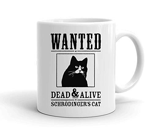 IDcommerce Wanted Dead And Alive Schrodinger's Cat Taza de cerámica Blanca para té y Café