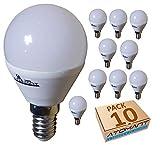 (LA) 10x Bombilla LED G45 7w, Blanco Neutro (4500K), 650 LUMENES REALES! rosca fina E14, equivalente 75w tradicional. (Blanco Neutro (4500K))