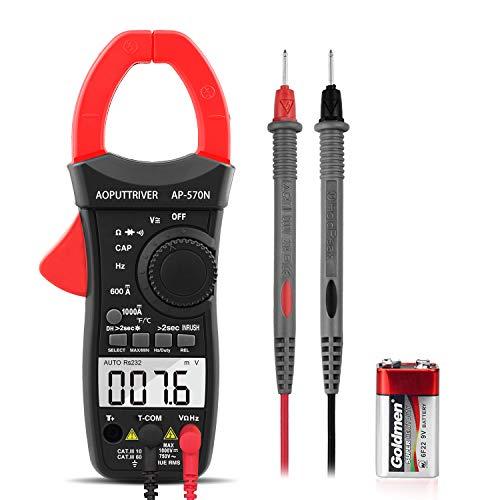Clamp Meter AP-570N TRMS 6000 Counts Strommesszange AC DC-Strommesszange mit automatischer Reichweite, Widerstand, Kappe, Hz, Einschaltdauer, Temperatur, Einschaltstromtest