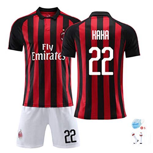 EDFG Kindersportuniform Italienisches Trikot Herren Trikotanzug für KAKA # 22 Nr. 2008-2009 Saison hausgemachte DIY WM Fußballuniform-L-black22