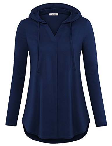 Vivilli Sweatshirts For Women, Ladies V Neck Long Sleeve Novelty Hoodies Casual Lightweight Knit Hooded Tunic Tops Dark Blue Large