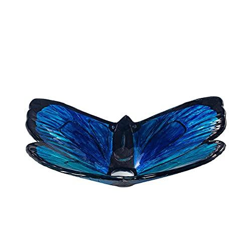 YXZQ Gehard glas schip badkamer wastafel blauwe vlinder vorm artistieke schip badkamer ijdelheid gootsteen, top wastafel combo met montagering, pop-up afvoer en deodorant onderpijp, met waterval Fa
