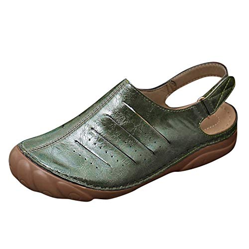 DAIFINEY Dam Clog pantoletter remsandal Slingback stängd tå bekväm platt strand sandal tofflor tofflor arbetssko tofflor, - 1 grön - 38 EU