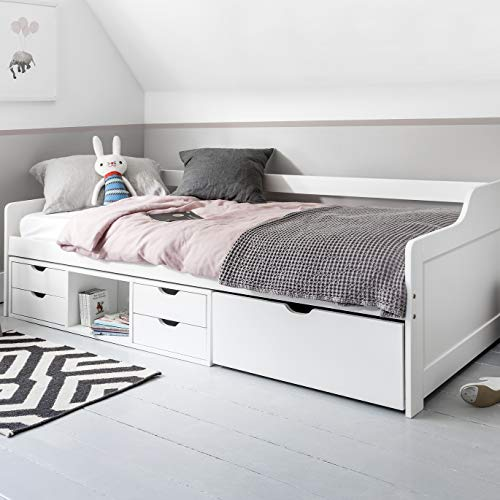 Noa and Nani - Eva Single Day Bed with Pullout Drawers - (White)