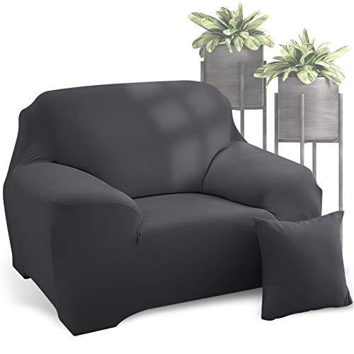 WD&CD Sofabezug, Grau Elastischer Sofabezug 2 Sitzer, Stretch Spandex Couchbezug Sesselbezug Sofahusse mit 1 X Kissenbezug